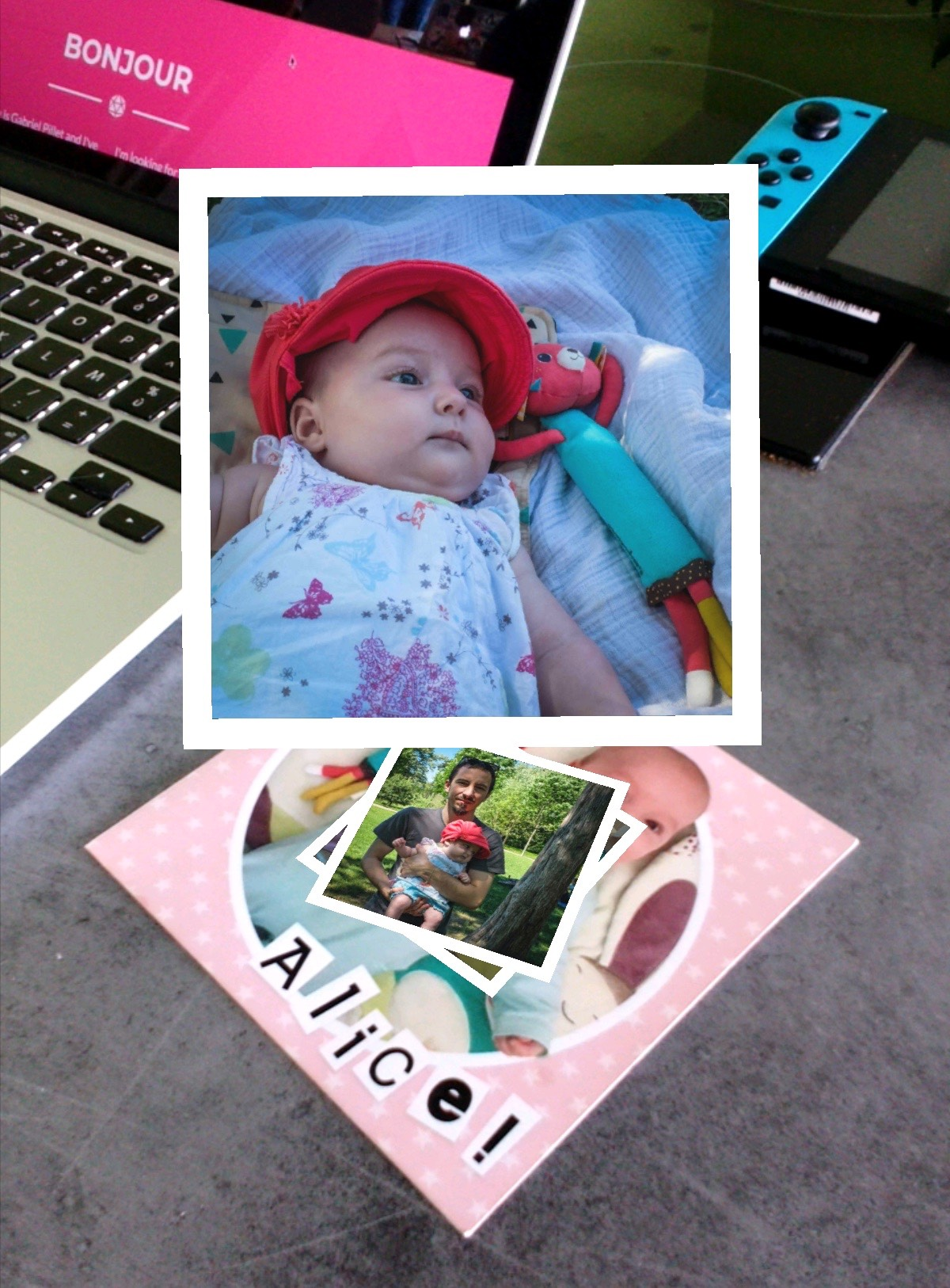 Augmented reality birth announcement card